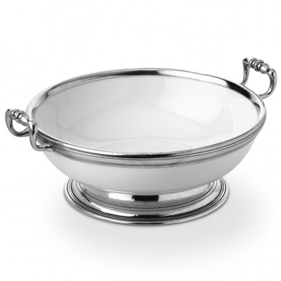 Pewter & Ceramic round fruit bowl w/handles ø 26 h 10 cm