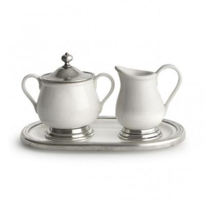 Pewter and ceramic creamer & sugar w/tray cm 14,5x23