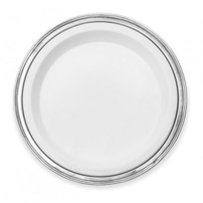 Pewter & ceramic round tray ø cm 40,5