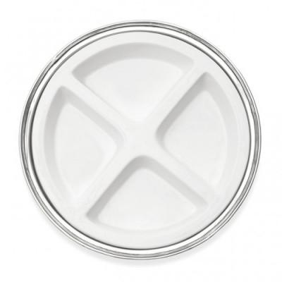 Pewter & ceramic appetizer round dish ø cm 40,5
