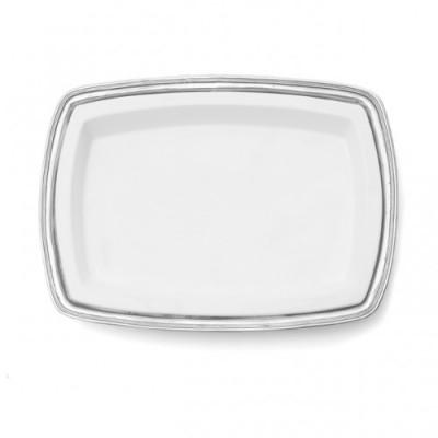 Pewter & ceramic rectangular dish cm 49x35,5