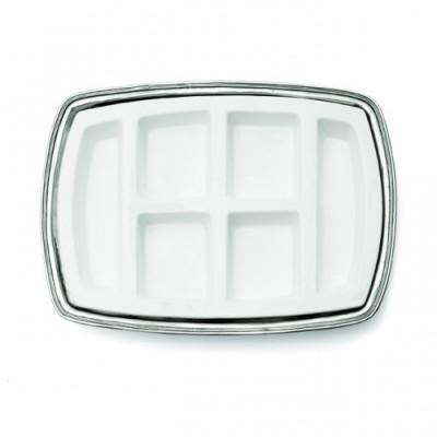 Pewter & ceramic rectangular appetizer dish cm 49x35,5
