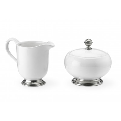 Pewter and ceramic creamer&sugar set cm 11