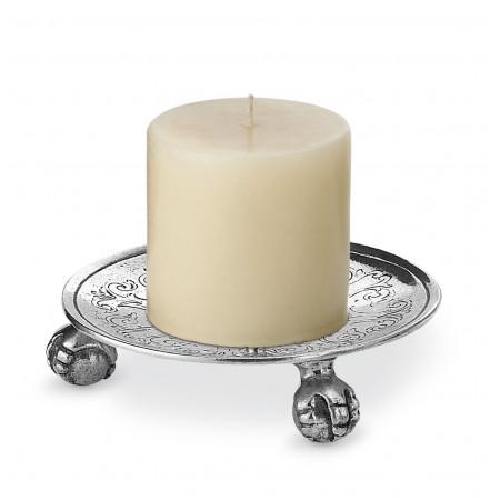 Pewter engraved candle holder ø cm 13