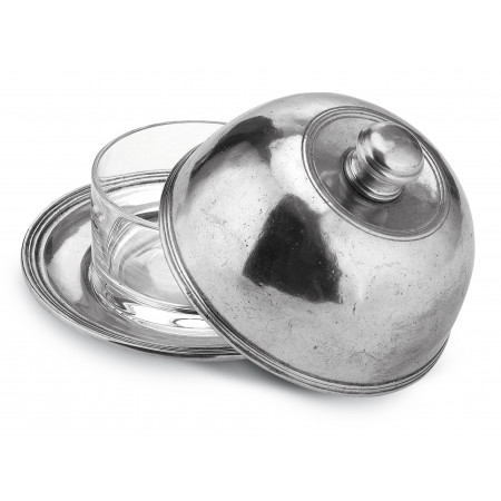 Pewter butter dish with dome ø cm 14 - h cm 9