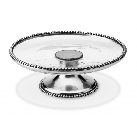 Pewter and glass cake stand ø cm 32x11h