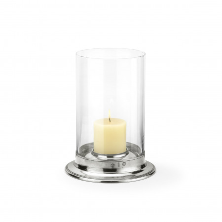 Pewter & glass hurricane lamp ø cm 29,5 - h cm 38