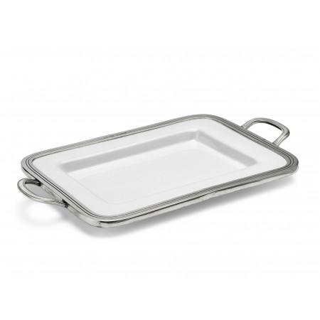 Pewter and ceramic rectangular tray 26x31 cm