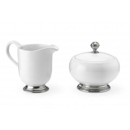 Pewter and ceramic creamer&sugar set cm 11