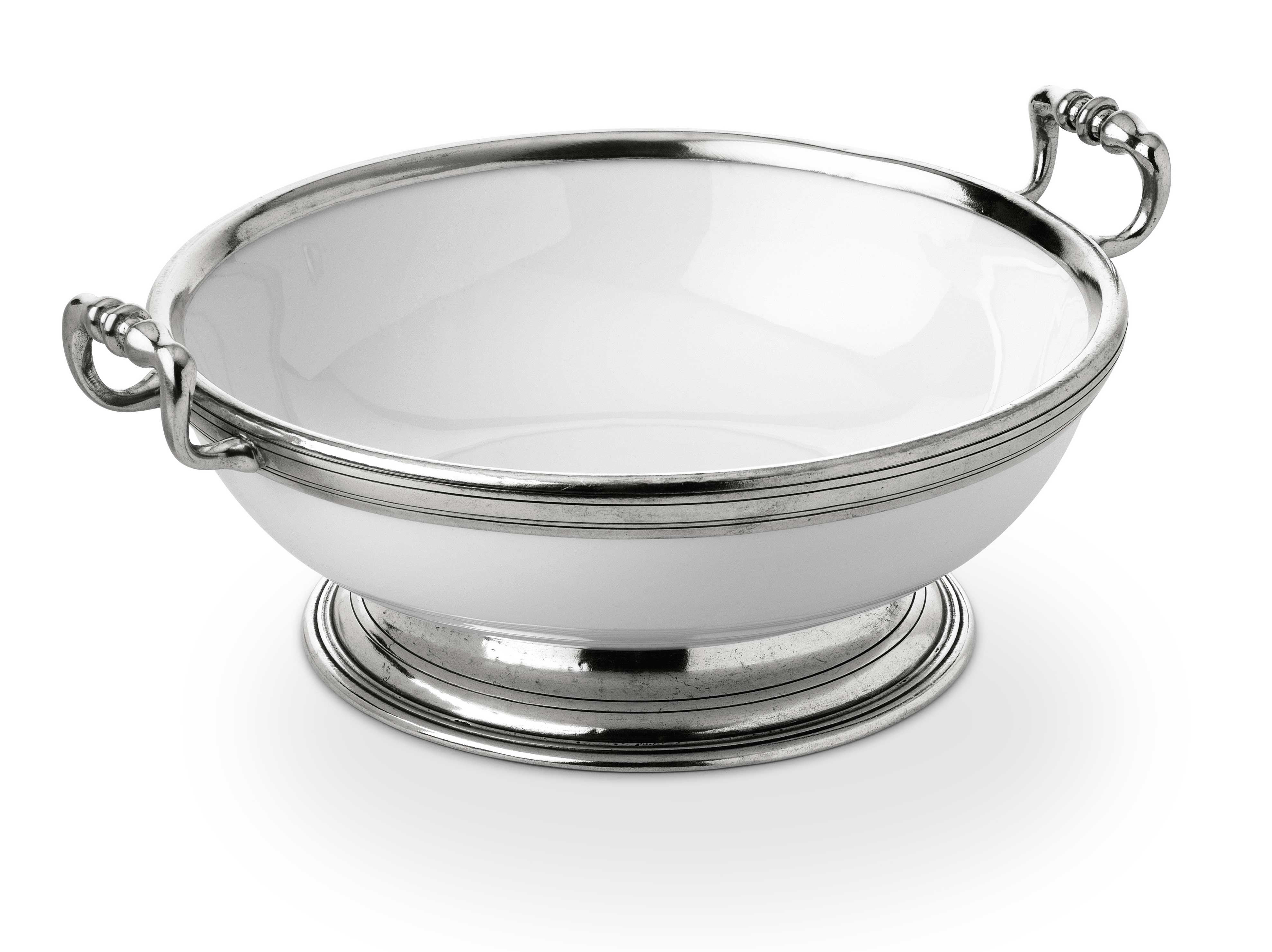 Pewter Amp Ceramic Round Fruit Bowl W Handles 248 26 H 10 Cm Peltro Pewter Shop Online