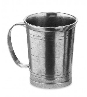 Pewter tumbler with handle h 10 cm