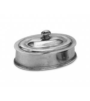 Pewter oval covered box