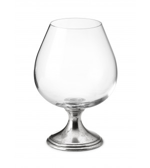 Pewter & crystal cognac glass h cm 15,5