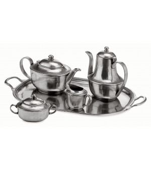 Pewter tea set, five pcs cm 33x44x20