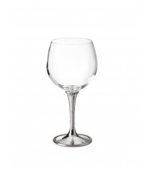 Pewter & glass wine tasting goblet h cm 18 - 50 cl