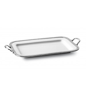 Pewter and ceramic rectangular tray w/handles cm 45x30,5