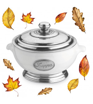 Pewter and ceramic individual soup tureen w/lid ø cm 14,5 h cm 12,5
