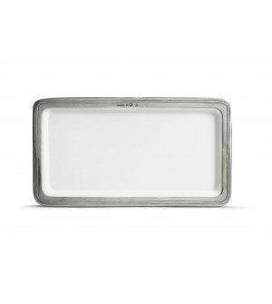 Pewter and ceramic rectangular tray cm 31x16