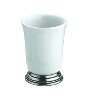 Pewter and ceramic tumbler cm 7,5x9,5h