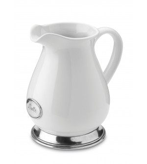Pewter and ceramic pitcher h cm 17