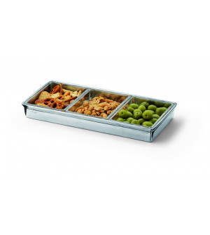 Pewter rectangular divided dish cm 13x28