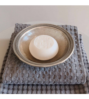Shaving soap with pewter bowl