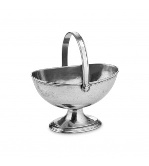 Pewter handled basket cm 14x22x25