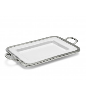Pewter and ceramic rectangular tray 26x31 cm