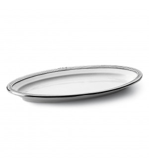 Pewter and ceramic oval platter cm 17x32