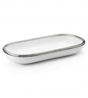 Pewter and ceramic oval bowl cm 35x17,5