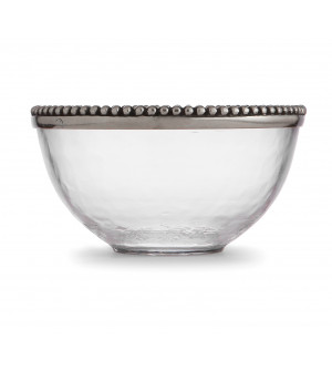 Pewter & glass cereal bowl ø 16 cm h 9