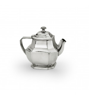 Pewter octagonal teapot 13,5x17 cm h - 1 L