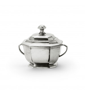 Pewter octagonal sugar bowl cm 13x10,6 h