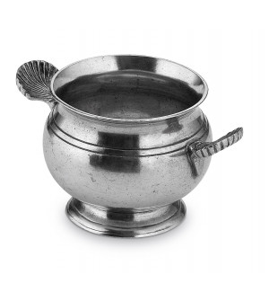Pewter soup bowl with two handles ø cm 10 - h cm 12