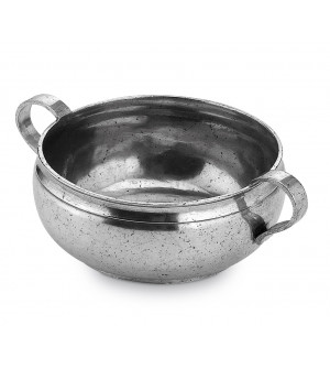 Double handle pewter bowl ø cm 14