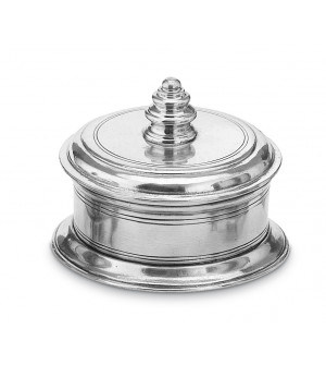 Pewter lidded box with base ø cm 12