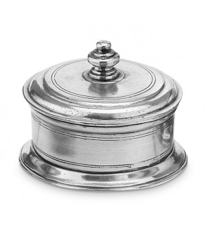 Pewter lidded box with base ø cm 10