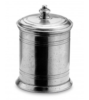 Pewter canister with lid h cm 10