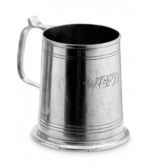 Pewter engraved beer mug h cm 11,5