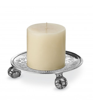 Pewter engraved candle holder ø cm 13