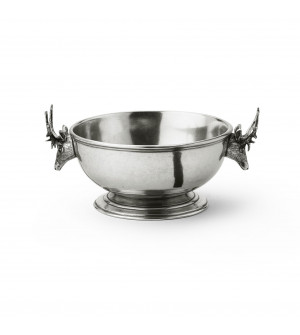 Pewter round bowl w/handles ø cm 16 - h cm 8