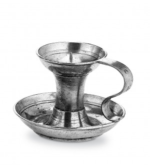 Pewter candleholder with handle h 10 cm