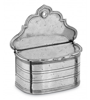 Pewter lidded salt holder cm 16x17