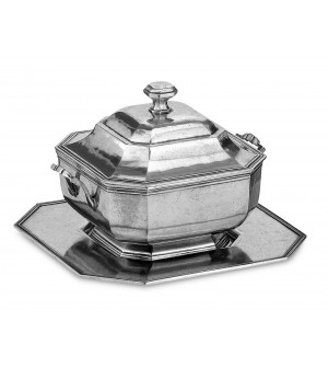 Pewter octagonal soup tureen w/tray cm 20x20