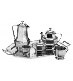 Pewter octagonal tea set - 6 pcs cm 38x50x24