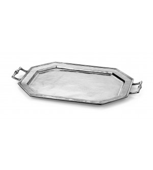 Pewter octagonal tray with handles cm 38x50