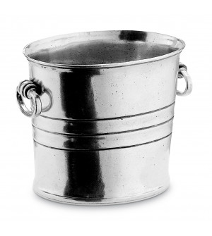 Pewter oval ice bucket h cm 14