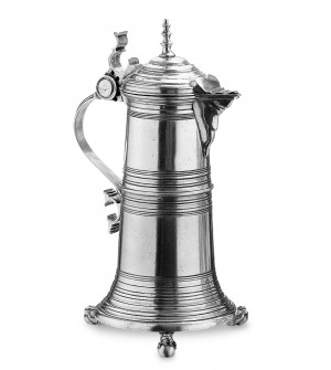 Pewter lidded pitcher h cm 38