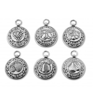 Pewter decorative jelly moulds cm 5, set of six