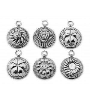 Pewter decorative jelly moulds cm 5 - set of six